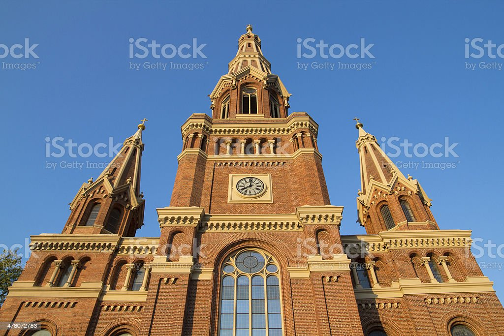 Red brick church tower royalty-free stock photo