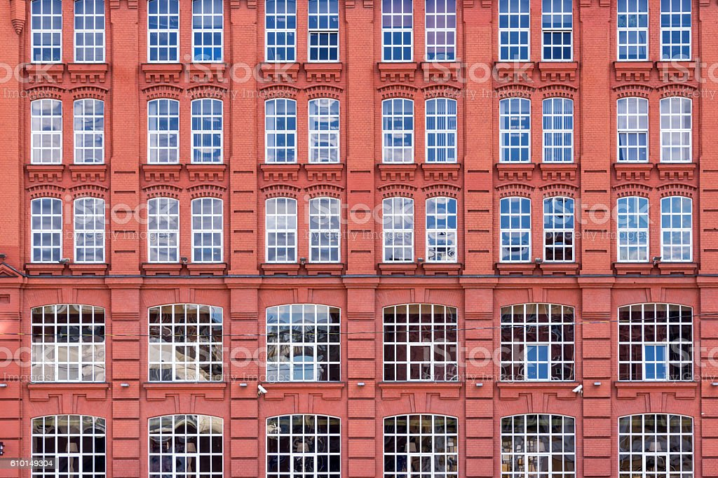 Red brick facade, Moscow, Russia stock photo