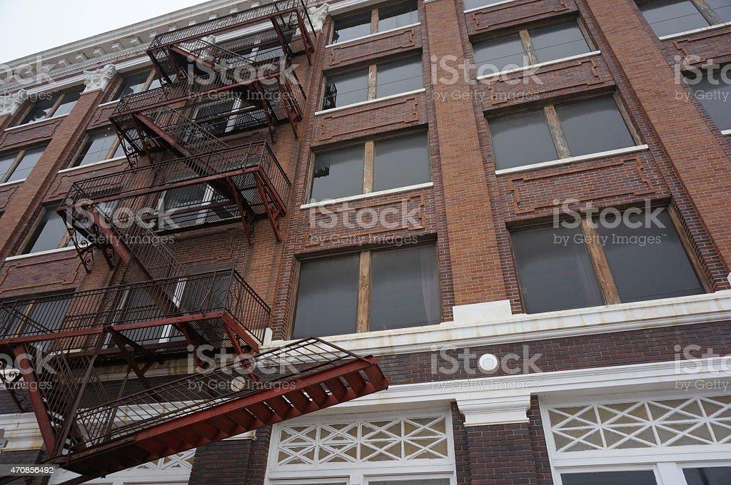 Red Brick Fire Escape stock photo