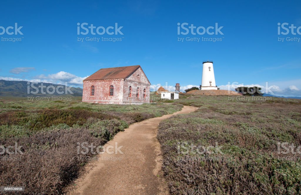 Red Brick Fog Signal Building at the Piedras Blancas lighthouse on the Central California Coast north of San Simeon California USA stock photo
