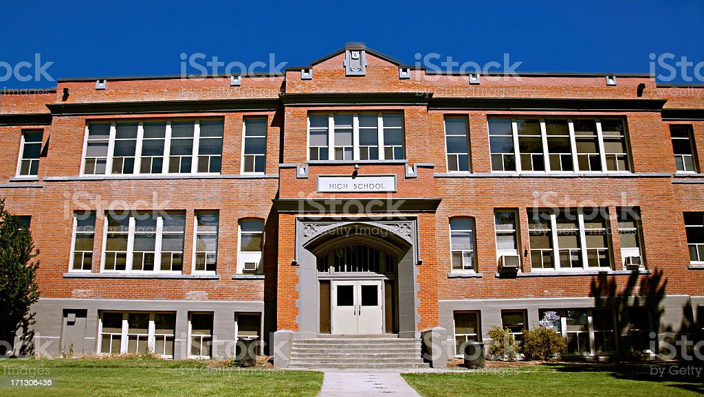 Red Brick High School Building Exterior stock photo