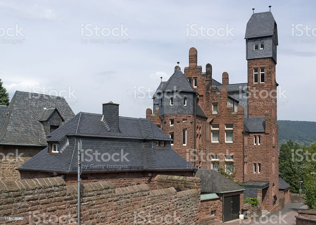 red brick house in Miltenberg stock photo