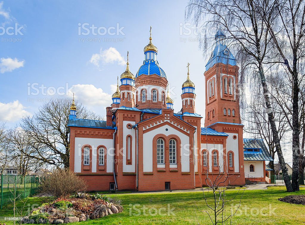 Red brick orthodox church in Cesis town, Latvia stock photo
