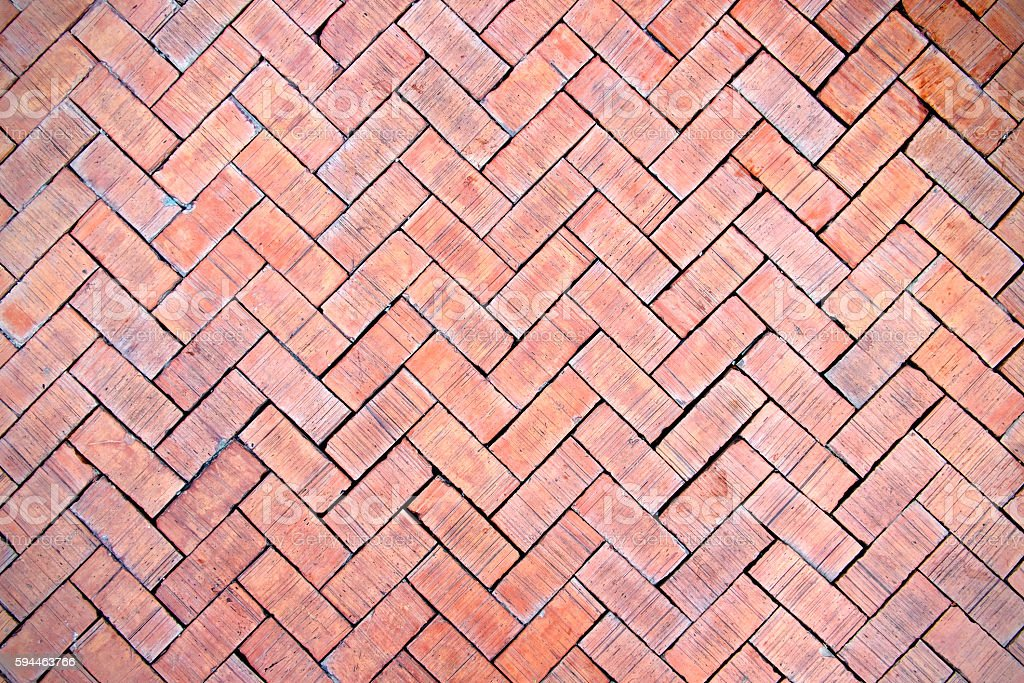 Red brick paving stones on a sidewalk stock photo