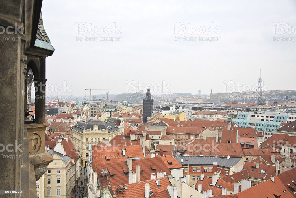 Red brick roofs of Prague. royalty-free stock photo