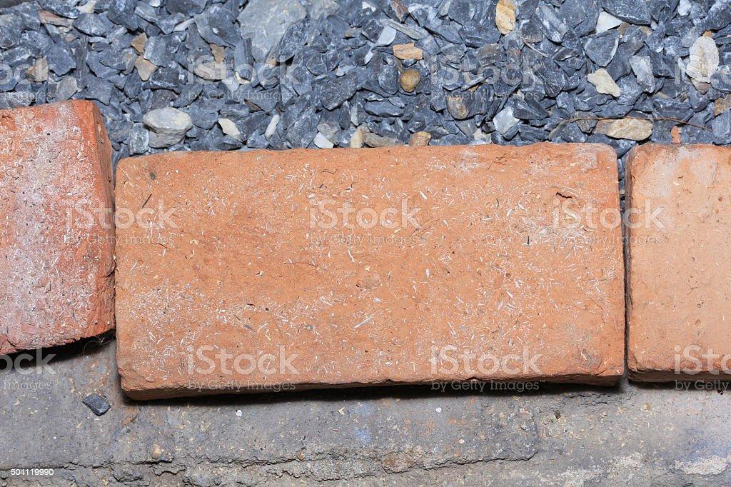 Red brick stones stock photo