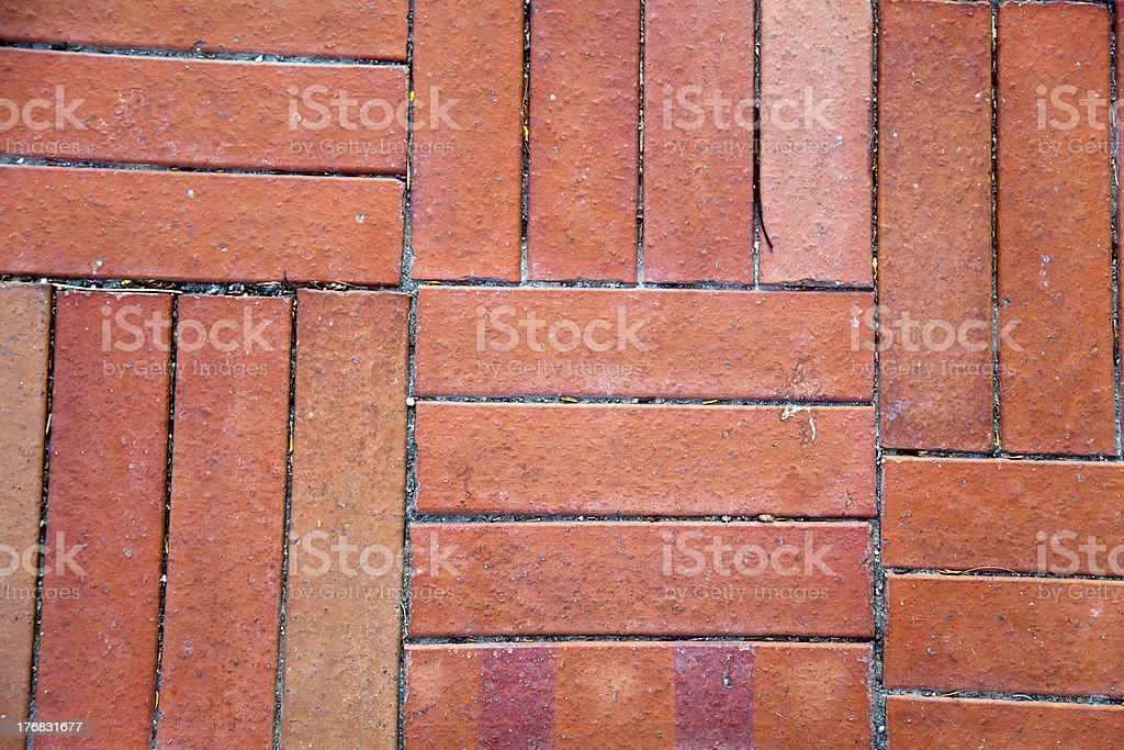 Red Brick Tiled Floor Background - Close Up royalty-free stock photo