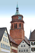 Red brick tower on the old square Weil der Stadt.