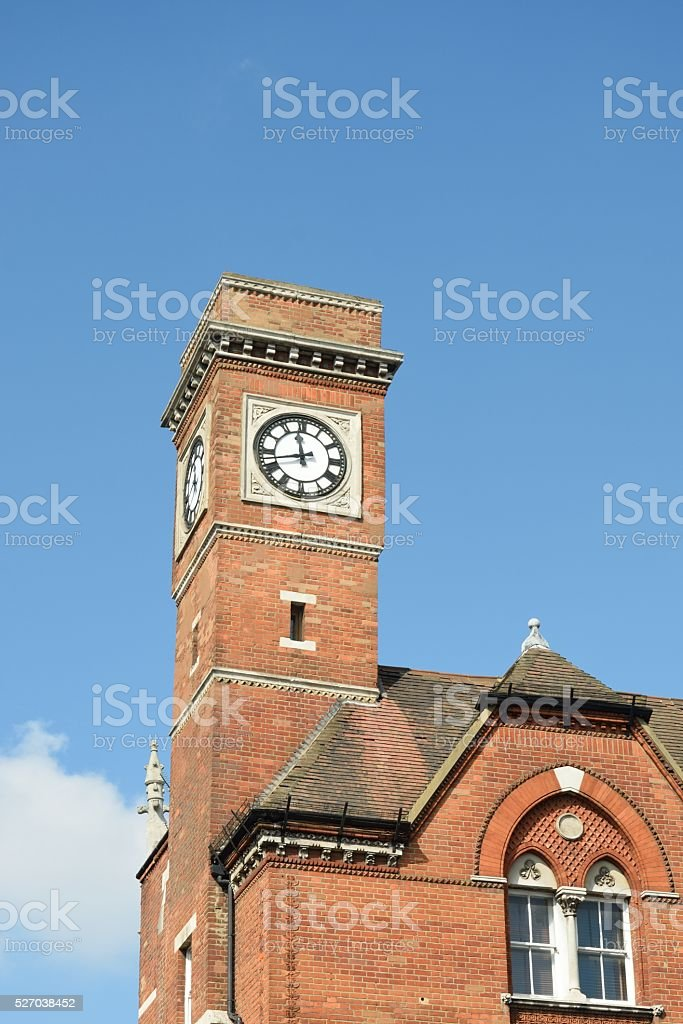 Red brick victorian clock tower stock photo