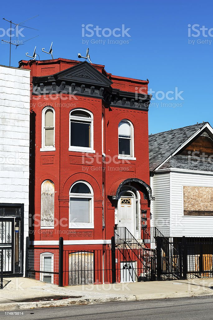Red brick Victorian townhouse in South Chicago royalty-free stock photo