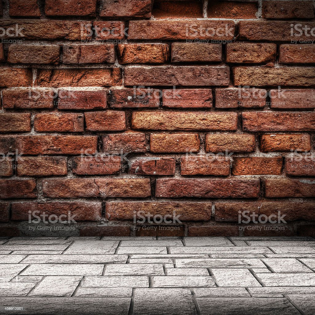 Red brick wall and floor interior royalty-free stock photo