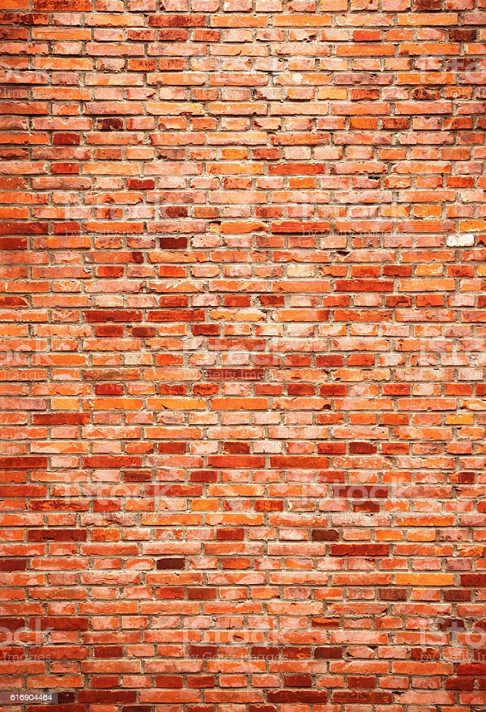 Red brick wall textured background stock photo