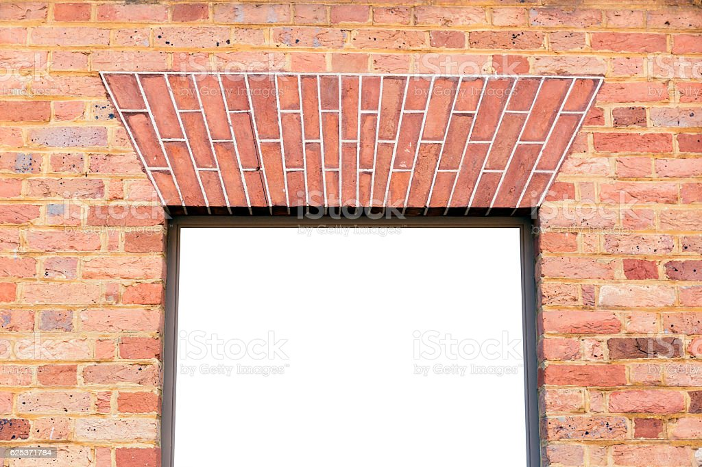 Red brick wall with empty window, white background, copy space, stock photo