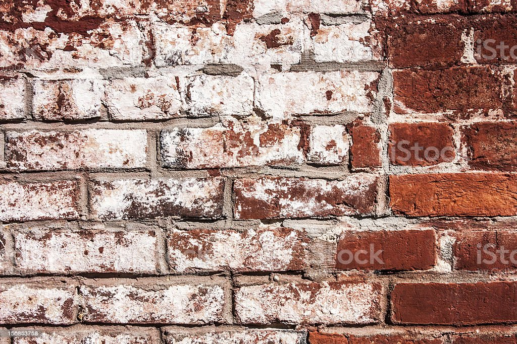 Red Brick Wall with White Paint royalty-free stock photo