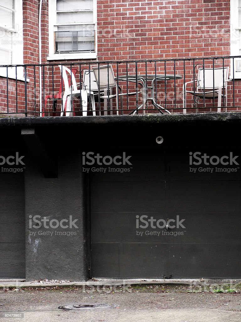 Red Bricked Back Porch with Patio Furniture royalty-free stock photo