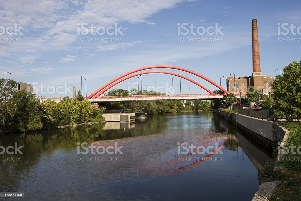 Red Bridge and Factory in Chicago stock photo