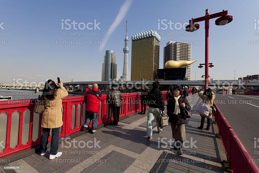 Red bridge in Asakusa and Sky Tree royalty-free stock photo