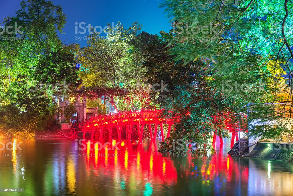 Red Bridge in Hoan Kiem Lake, Ha Noi, Vietnam stock photo