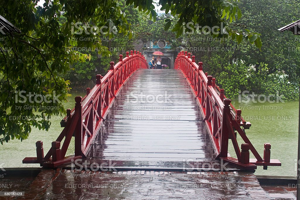 Red Bridge in Hoan Kiem Lake stock photo