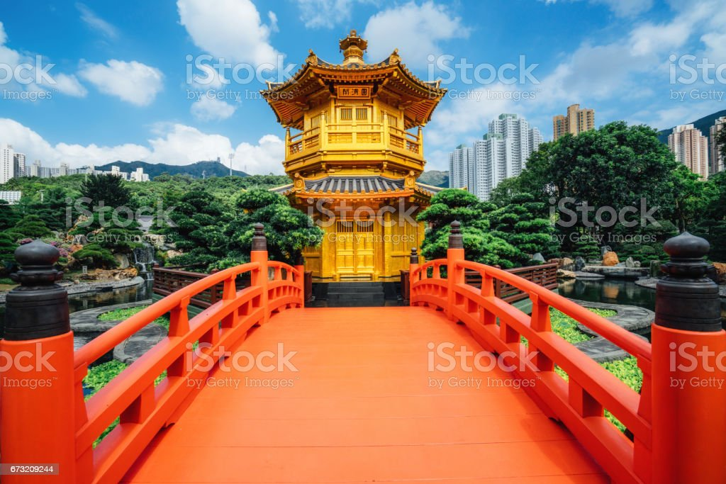 Red bridge in Nan Lian Garden, Diamond Hills, Hong Kong stock photo