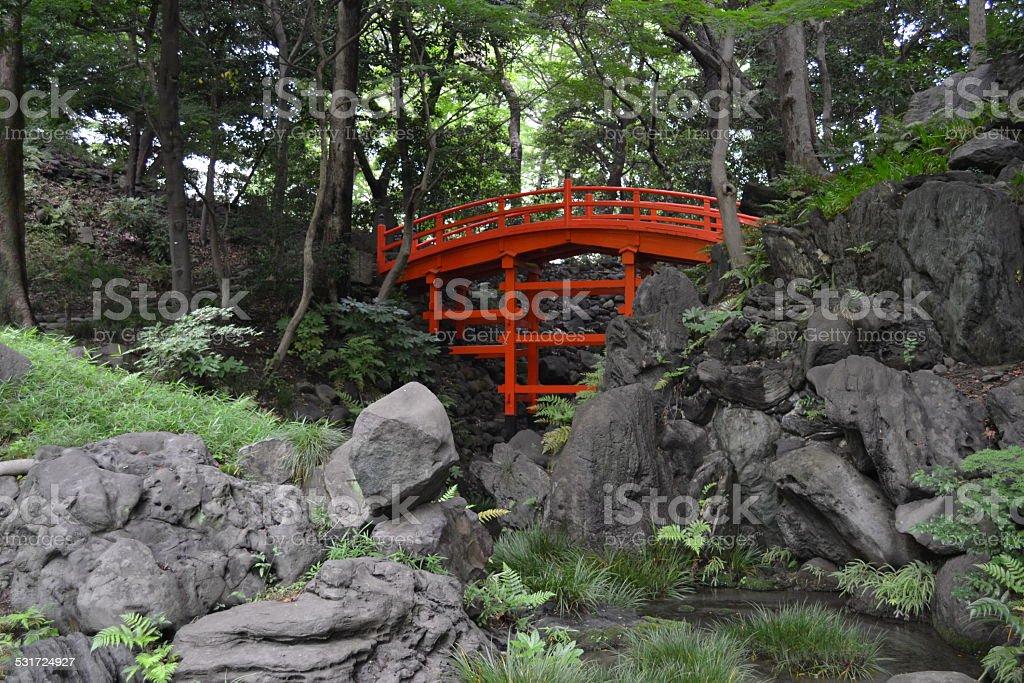 red bridge, Japan royalty-free stock photo