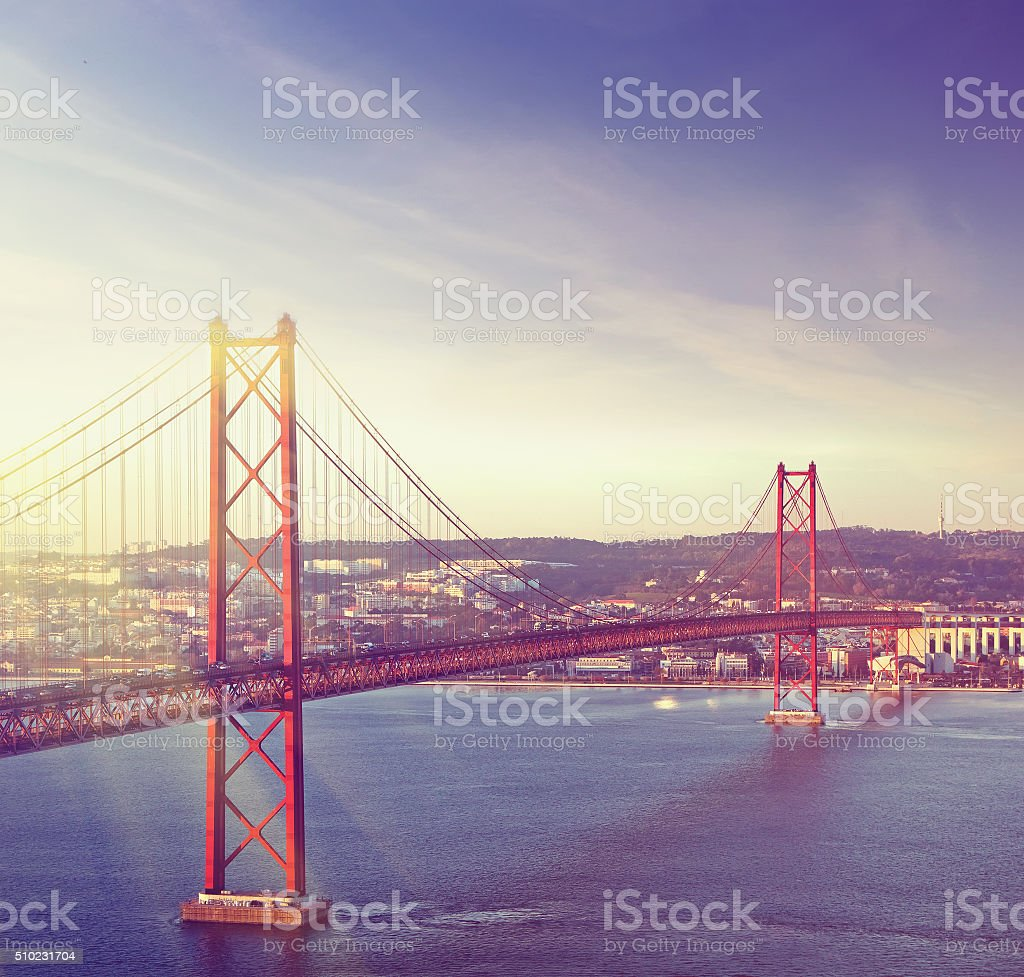 Red bridge, Lisbon, Portugal stock photo