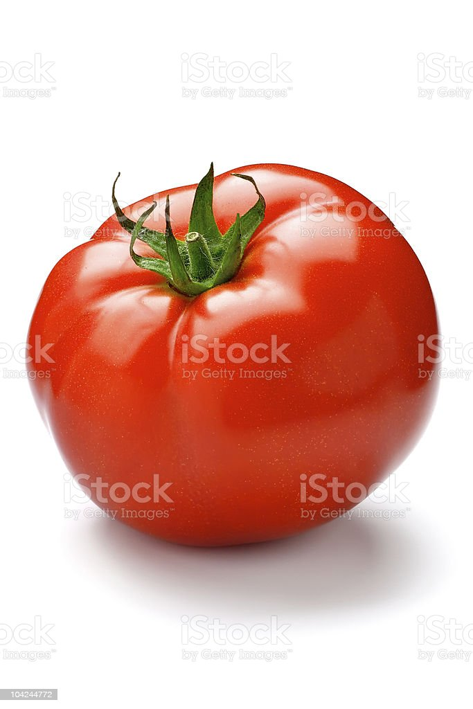 Red bright tomato on a white background royalty-free stock photo
