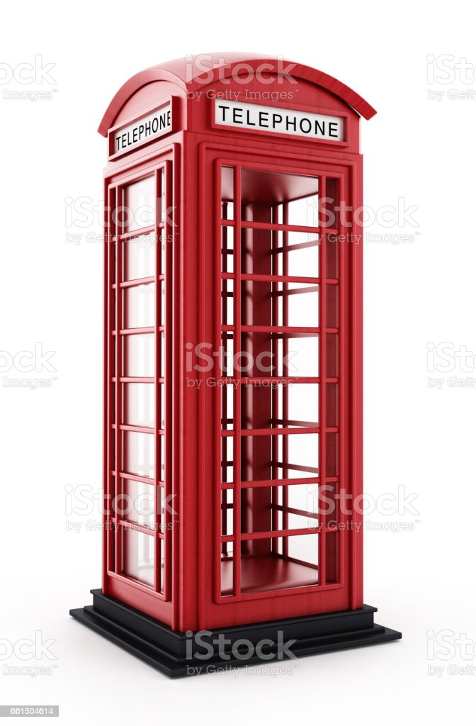 Red British phone booth isolated on white vector art illustration