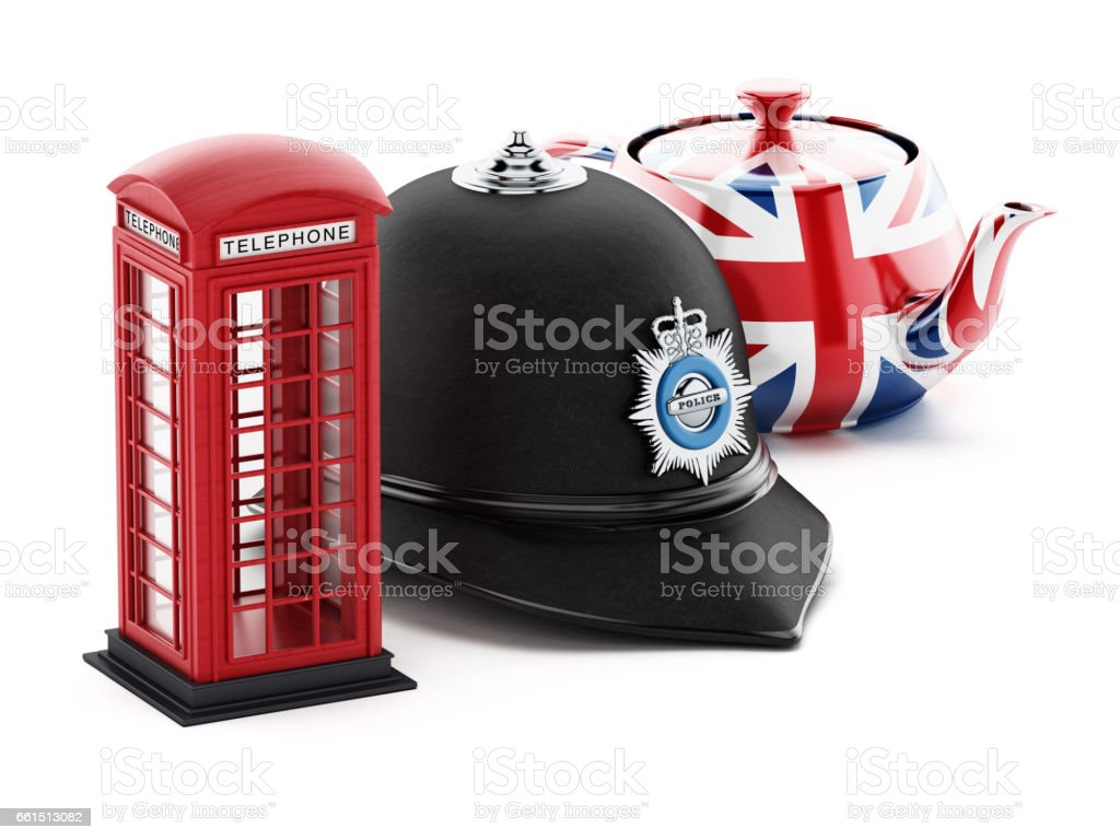 Red British phone booth, traditional police hat and UK flag textured teapot isolated on white vector art illustration