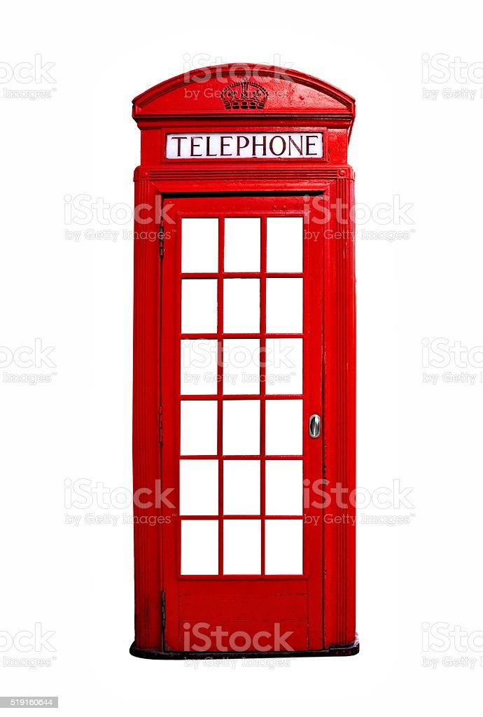 Red British telephone booth isolated on white stock photo