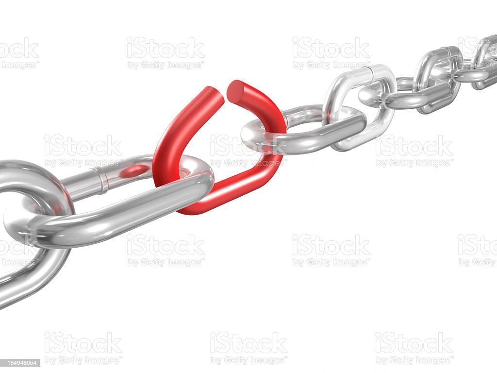 A red broken link in a silver chain royalty-free stock photo