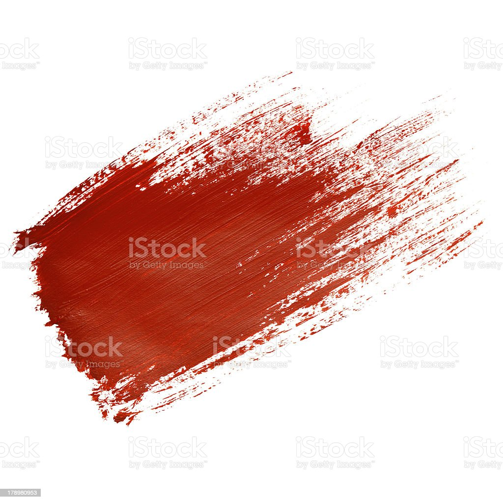 Red brush stroke on white paper stock photo