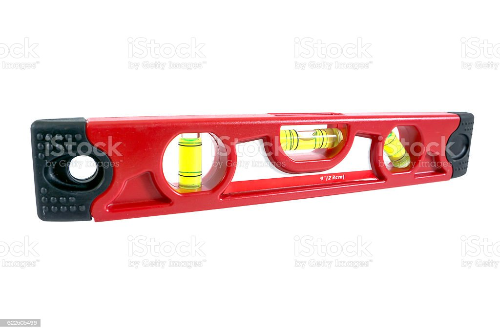 Red builder level isolated on white background stock photo