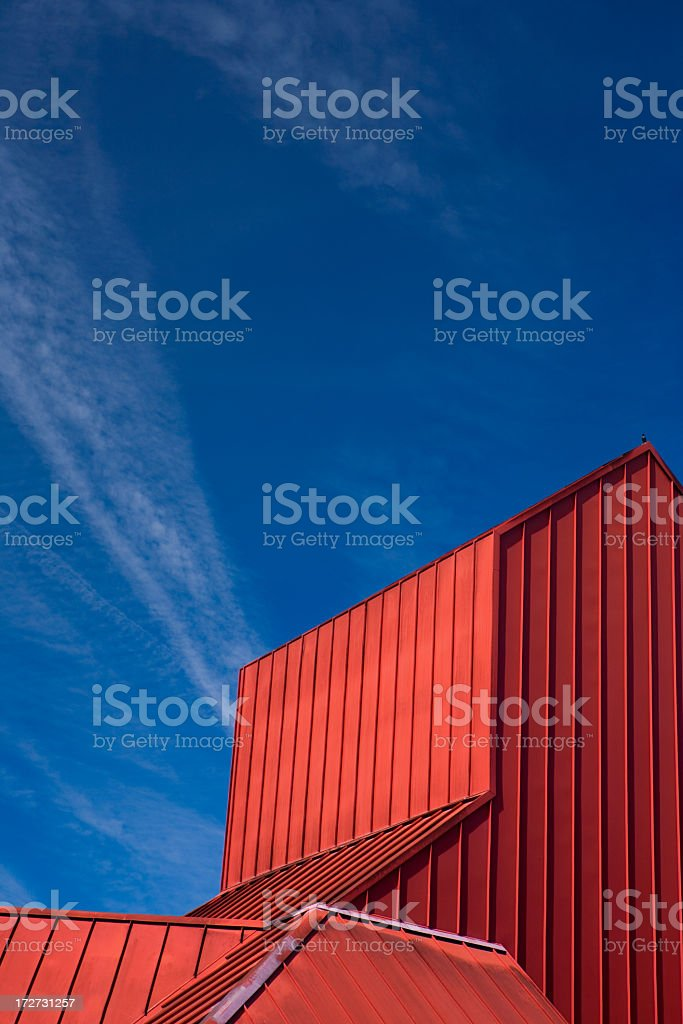 Red building under the blue sky stock photo