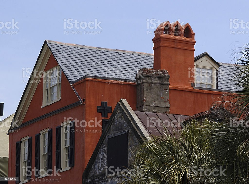 Red Building with Unique Rooftop in Charleston royalty-free stock photo