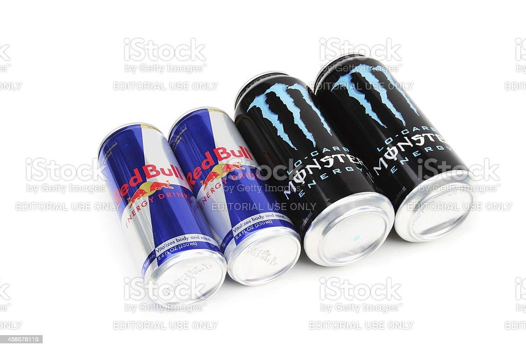 Red Bull and Monster Energy Drinks stock photo
