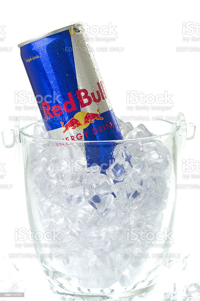 Red Bull Bottle in Ice Bucket stock photo