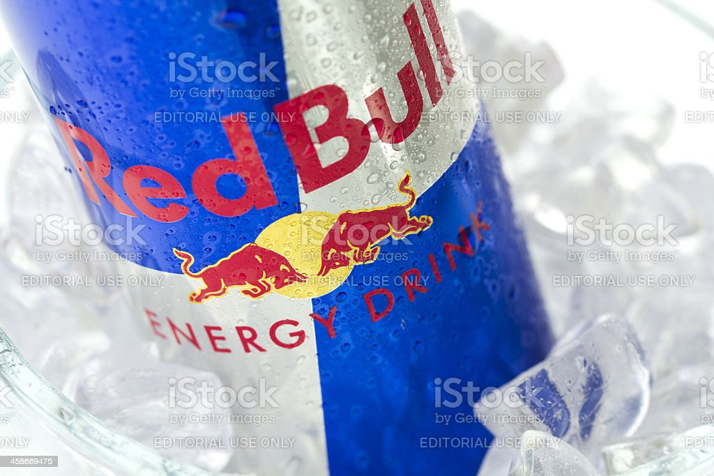 Red Bull Bottle in Ice stock photo