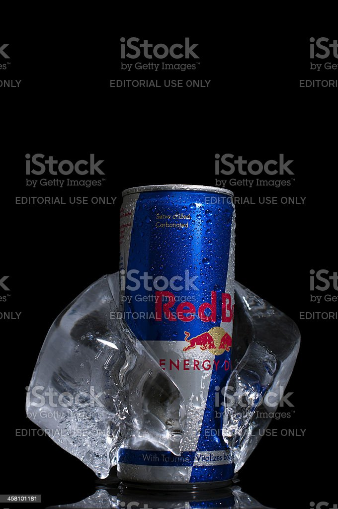 Red Bull can in Ice cube stock photo
