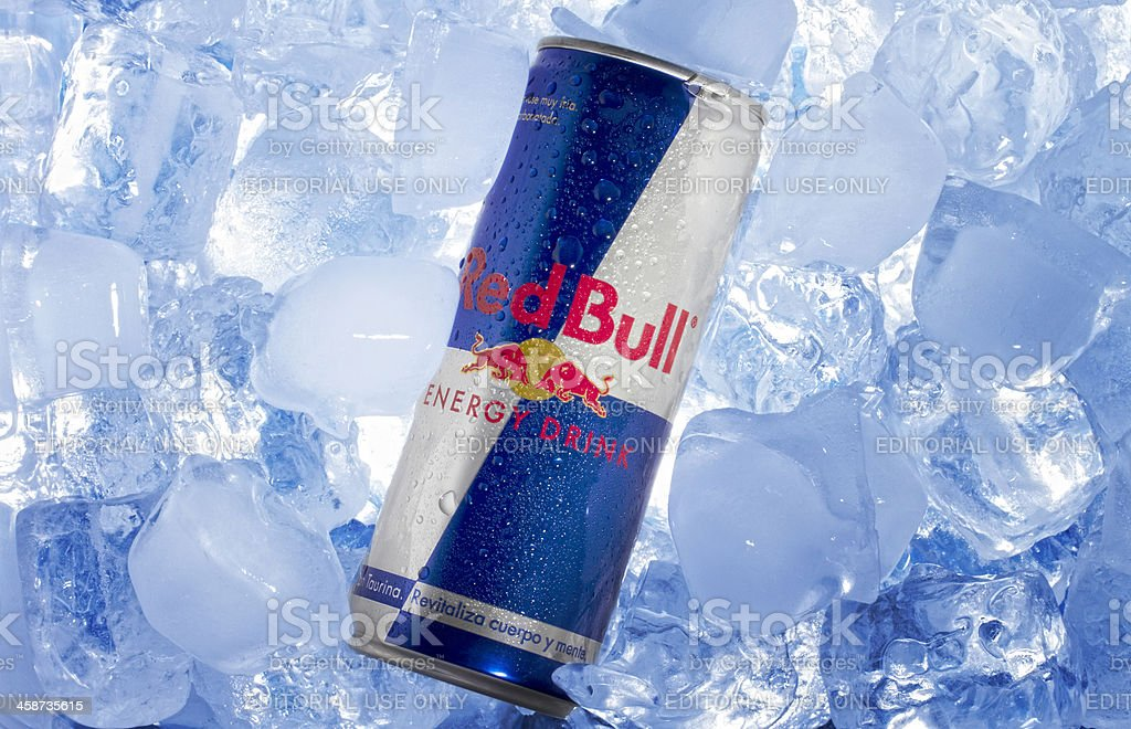 Red Bull can in Ice stock photo