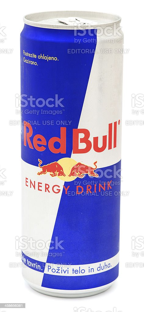 Red Bull can isolated on white stock photo