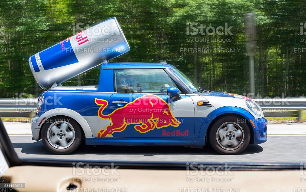 red bull car stock photo