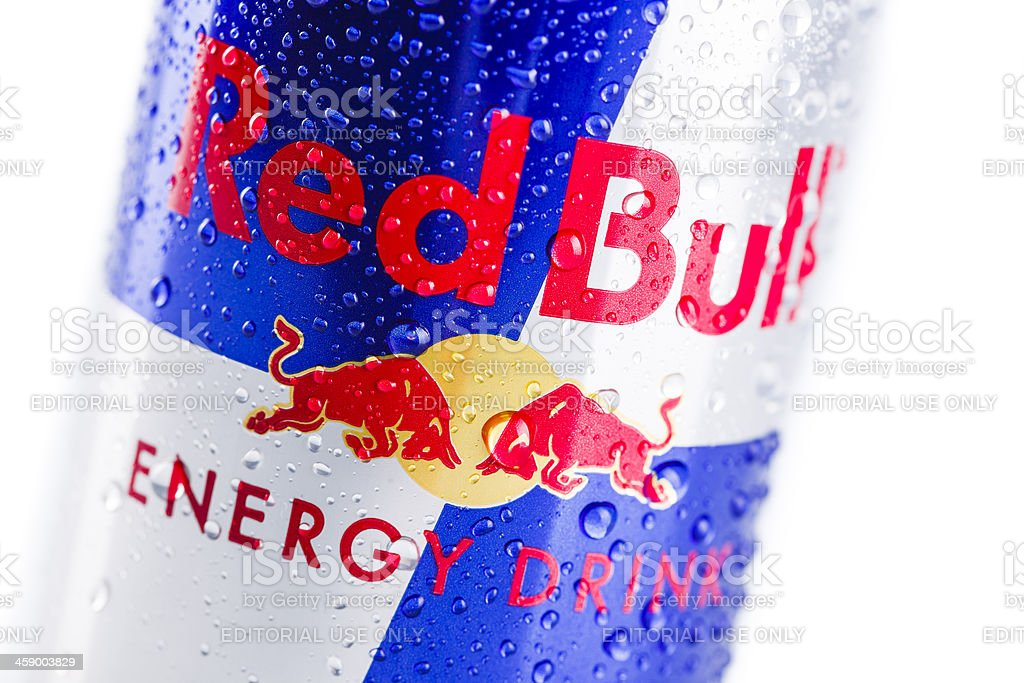 Red Bull energy drink can stock photo