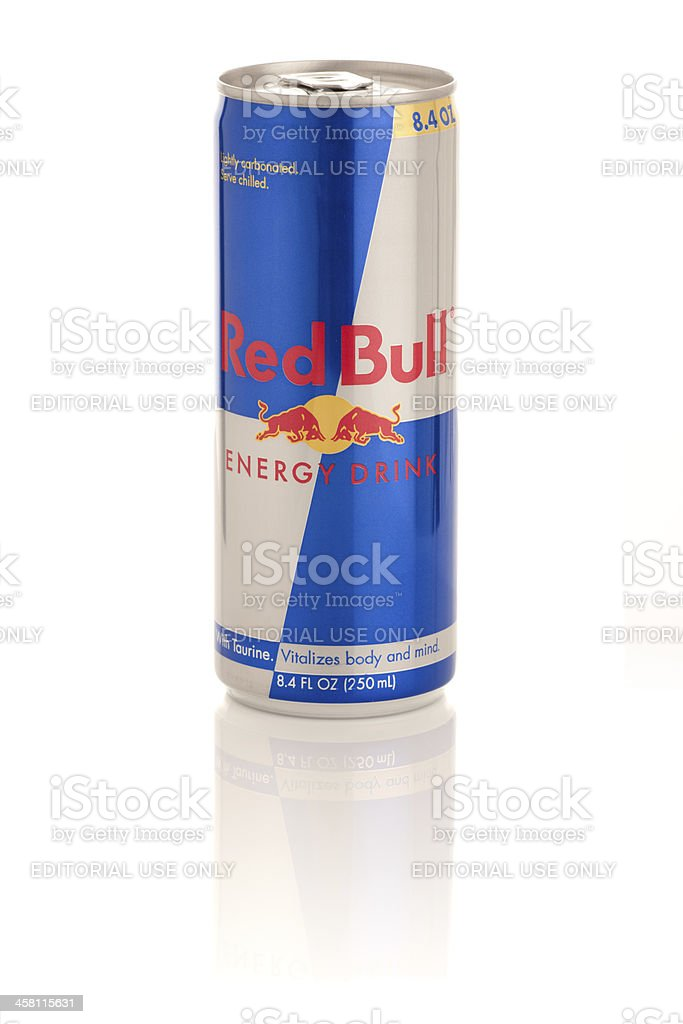 Red Bull Energy Drink in 8.4 oz can with Reflection stock photo