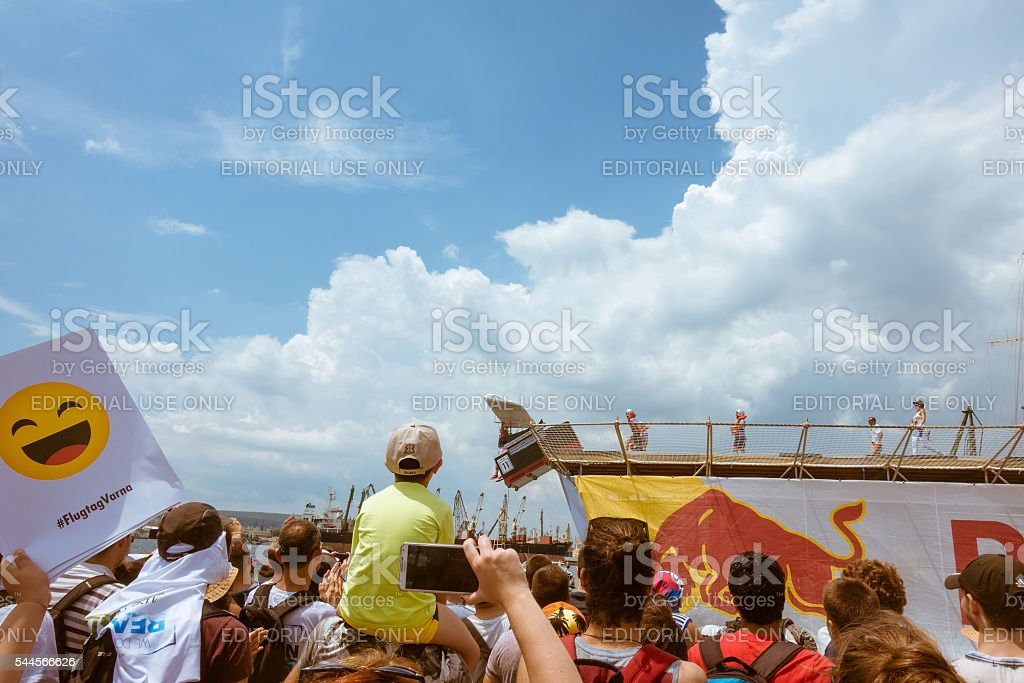 Red Bull Flugtag 2016 in Varna. Spectators of the competition. stock photo