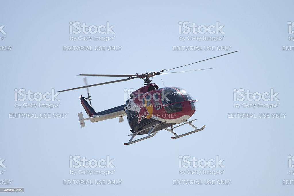 Red Bull Helicopter royalty-free stock photo