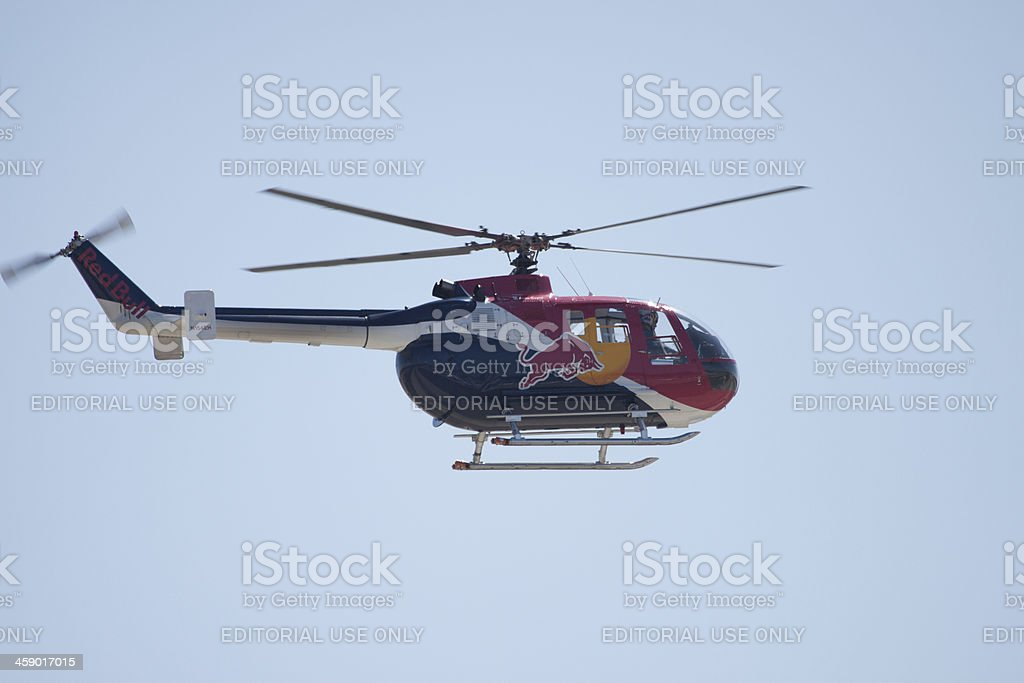 Red Bull Helicopter Side View royalty-free stock photo