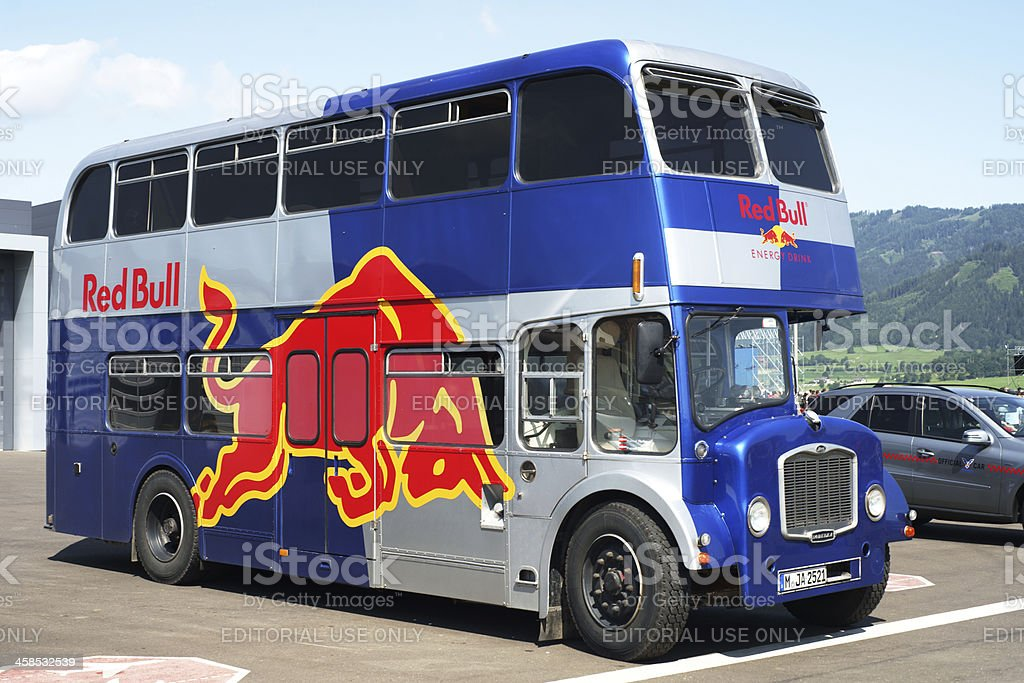 Red Bull typical London double-decker bus royalty-free stock photo