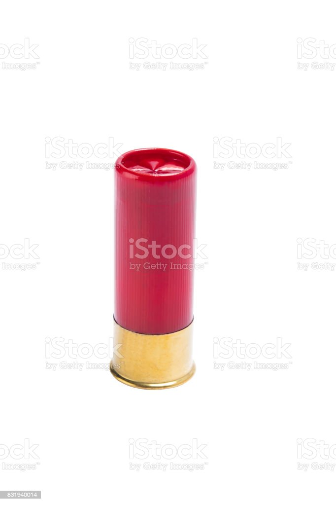 Red bullet for a shotgun with a large shot, on a white background stock photo