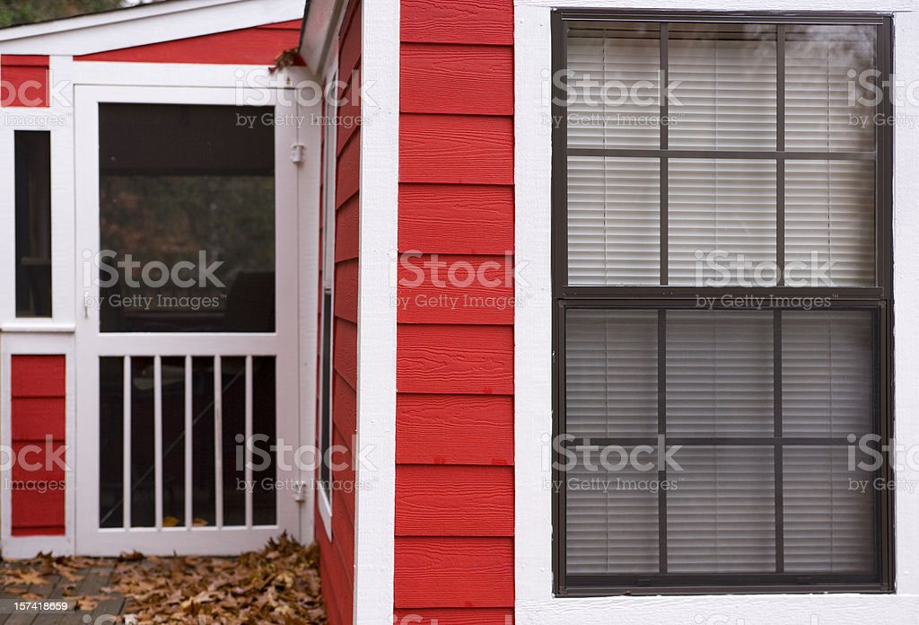 Red bungalo. stock photo